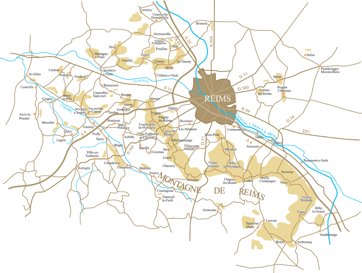 Les differents terroirs de la champagne for Plan epernay